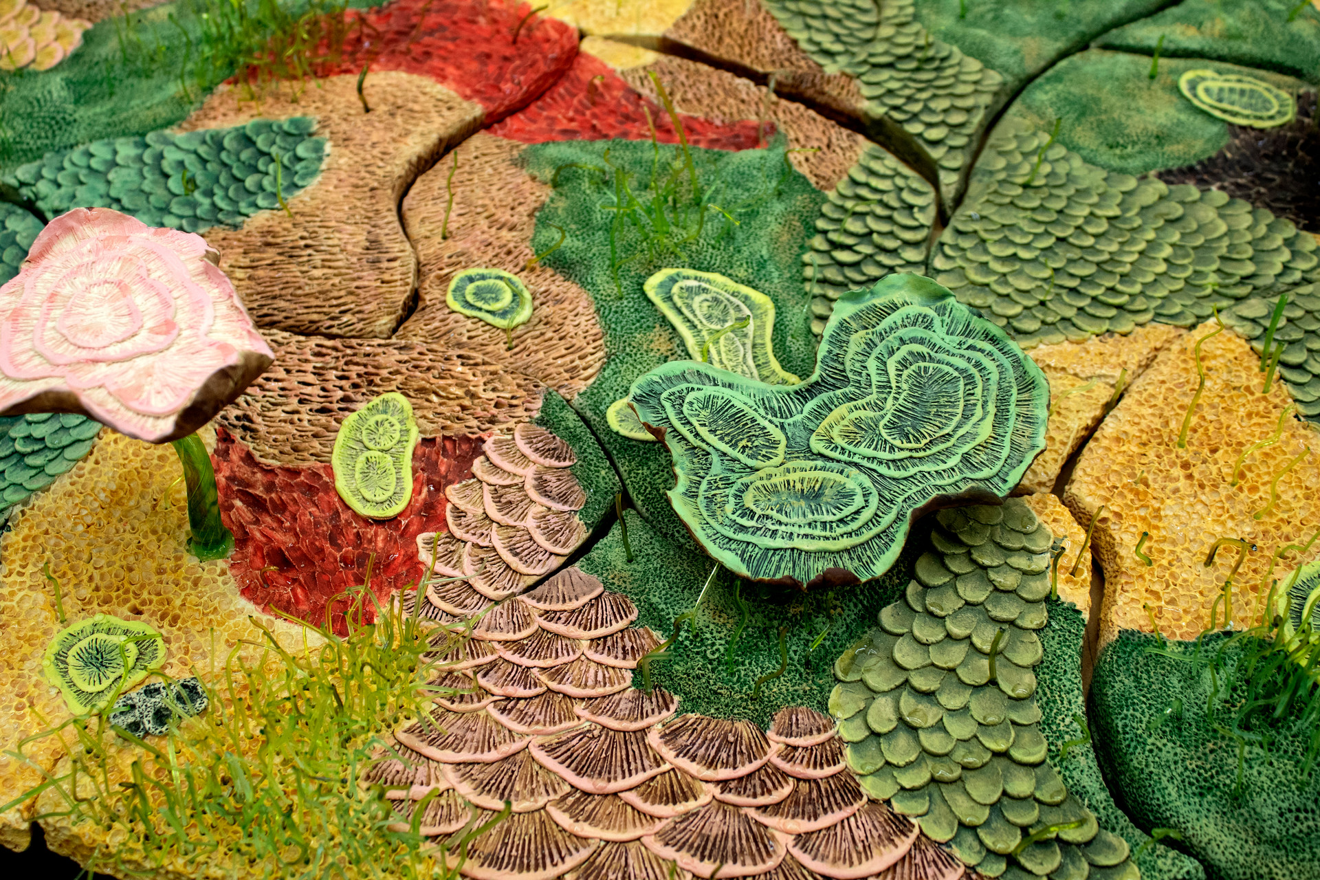 "Renewal [detail], Ceramics and Glass, 4'10""x 4'10"", 2020"