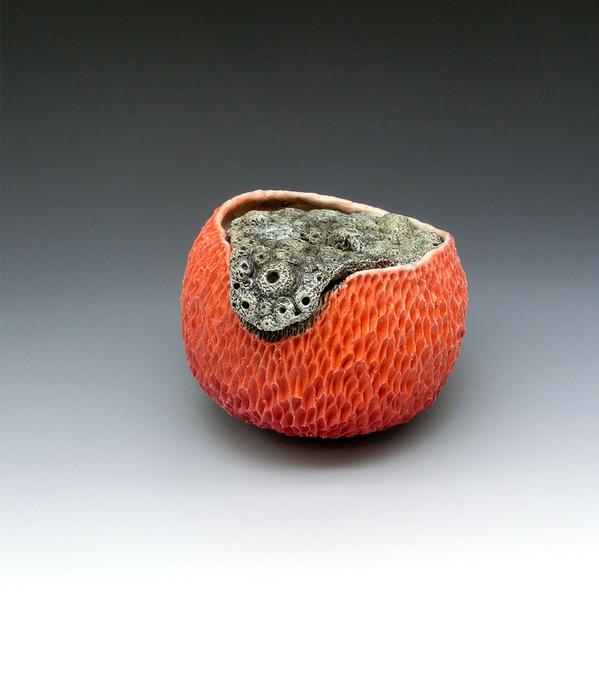 Coral jar 2, Helios porcelain, black slip, mason stain, underglaze, glaze, cone 10 atmospheric fired, 4x4.5x4.5, 2020