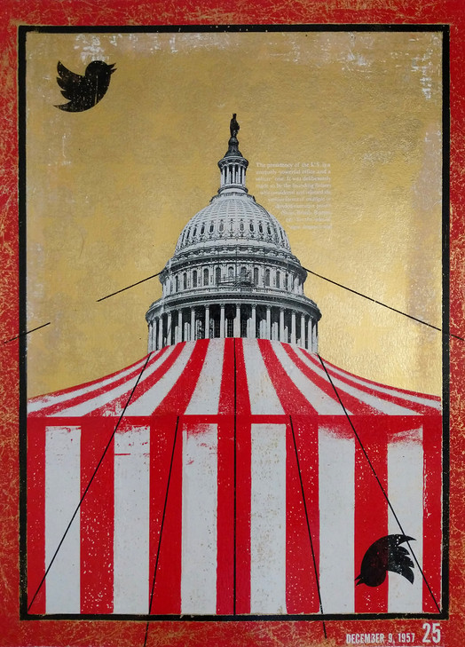 """Circus Capitol, Foil on Archival Paper, 18""""x24"""", 2020"""