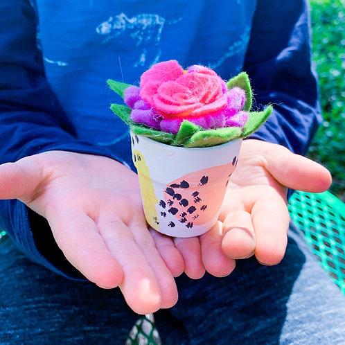 Felt Flower and Mini Painted Terra Cotta Pot Kit