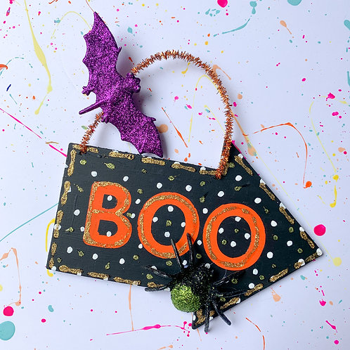 Painted Wood 'Boo' Sign - Take Home Kit