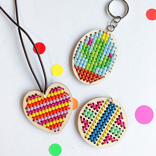 Cross Stitch Necklace/Keychain