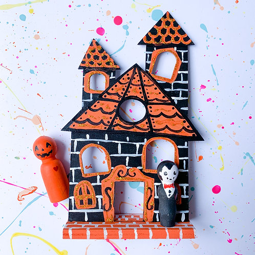 Painted Haunted House and Peg Dolls - Take Home Kit