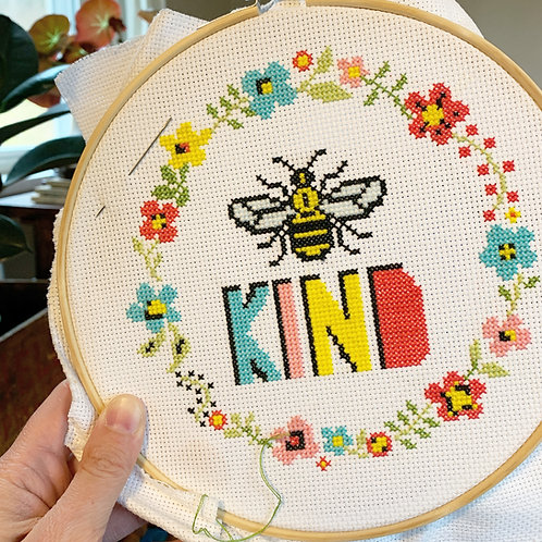 Bee Kind Cross Stitch Kit