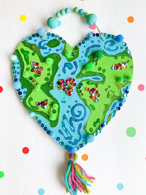 Wood Heart Shaped Earth Kit