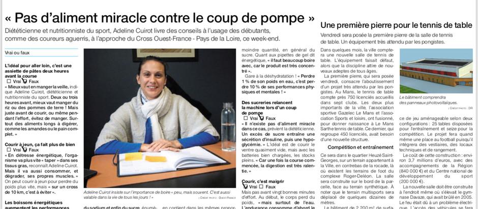 Article Ouest France «Pas d'aliment miracle contre le coup de pompe»