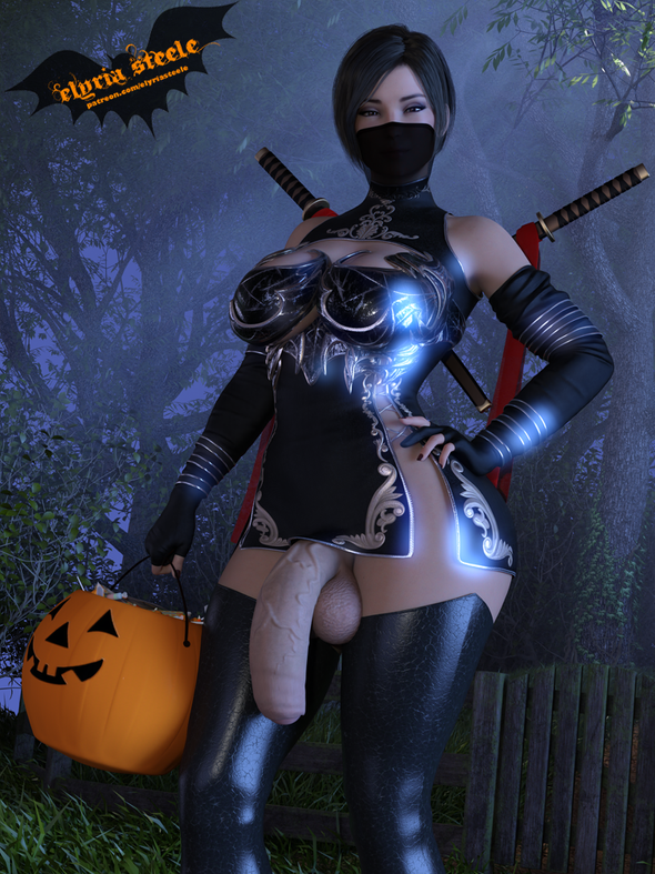 Ada Wong from Resident Evil dresses up as a ninja for Halloween!  Topless, nude and erect versions are available on my Patreon at the $1 tier, and 4K versions of each are available at the $3 tier.