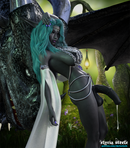 Exhausted from the tiring ritual, Dark Elf Priestess Elura and her loyal companion Dazraxxis take a moment to recover.