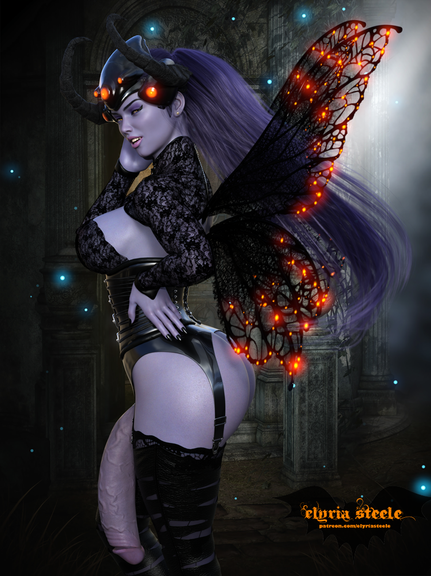 Widowmaker from Overwatch dresses up as a dark fairy for Halloween!  Two alternate flaccid versions are available on my Patreon at the $1 tier (futa and horsecock), and five 4K versions are available at the $3 tier, including nude, erect and horsecock versions.