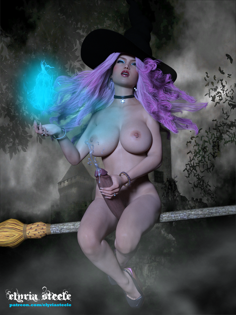 Myleena the witch returns to her castle after a midnight flight.