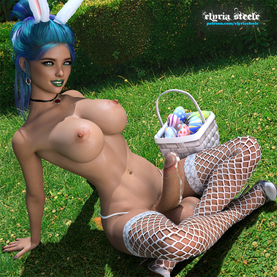 Happy Easter!  Brooklynn relaxes in the grass after an exciting Easter egg hunt!  An unwatermarked version of this picture is available on my Patreon at the $1 tier, and a 4K version (plus horsecock and female variants) is available at the $3 tier.