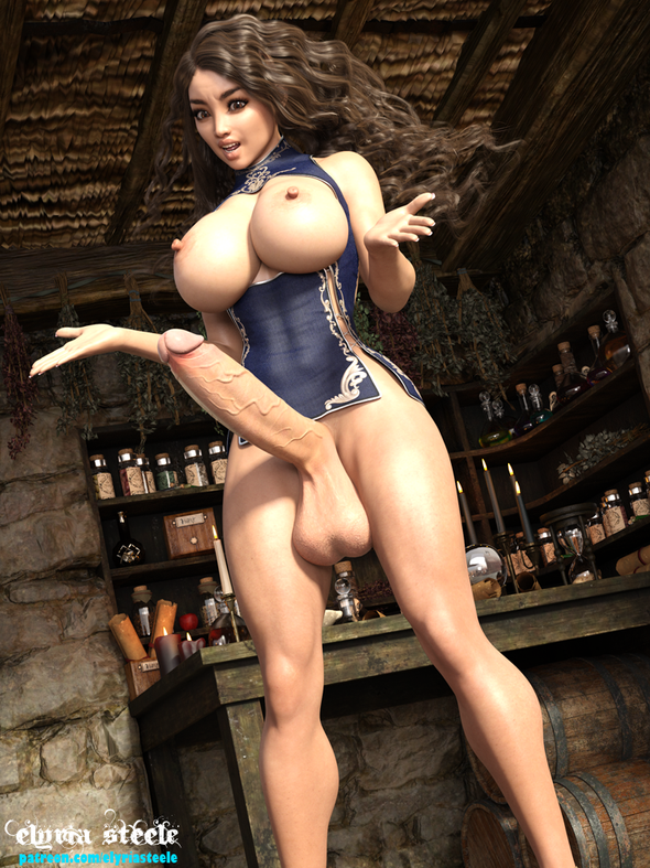 After much prodding from Fiona, Lorelei finally gave in and recited the words to the spell.  After stumbling through the incantation, she felt a tingling sensation throughout her body.  To her surprise, not only did she now have a huge cock, but her breasts had grown larger and her body was bigger and more muscular!  She was pleasantly surprised by how good it felt as her new cock grew thick and hard from her excitement.