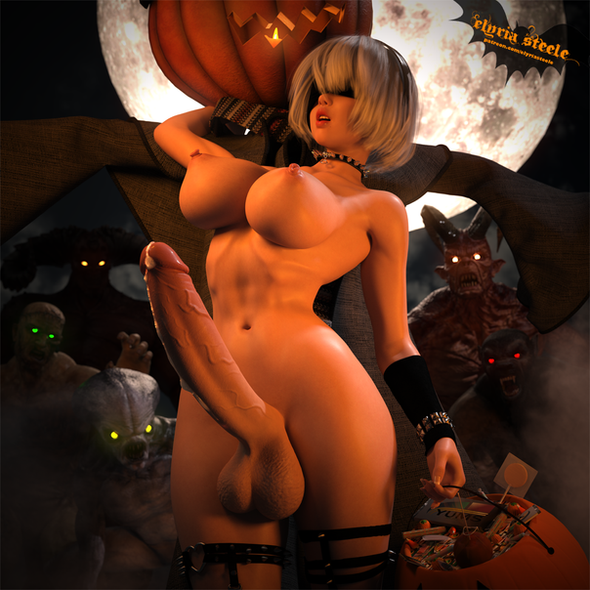 Everyone wants some of 2B's hard candy this Halloween!  A 4K version is available on my Patreon at the $3 tier.