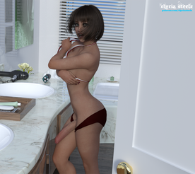 """""""I'm in here! Don't look!"""" Sophie yells as you unknowingly walk in on her in the bathroom.   Your best friend Sophie invited you over to her house that day to hang out by her pool. Secretly you've always harbored a small crush on her, but you were floored when you arrived and she greeted you in her little white and red bikini.  She seemed sort of weird when you were out at the pool, and she went inside abruptly. Waiting for her to come back, you decided to go and see if she was okay. Her mom said she thought Sophie went up to her room, so you decided to use the bathroom before you went to check on her.   Now you stand speechless, unable to reconcile the sight of her standing there, with a huge cock protruding from her bikini bottoms."""