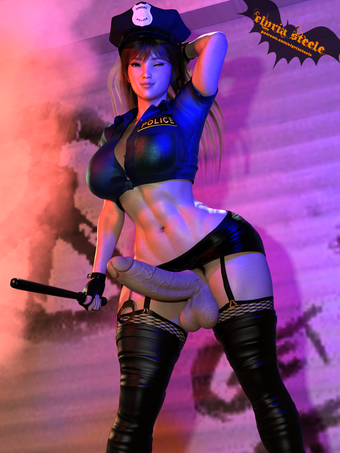 Chun-Li from Street Fighter dresses up as a sexy police officer for Halloween!  A nude version is available on my Patreon at the $1 tier, and four 4K pics are available at the $3 tier, including horsecock and female versions.