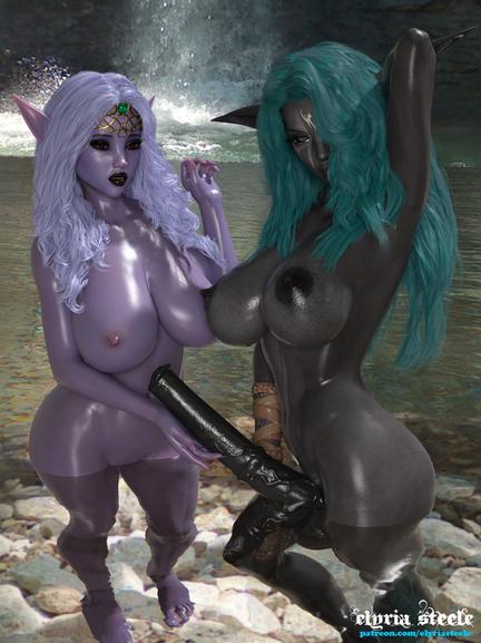 Elura, the Dark Elf priestess, begins the mating ceremony with Princess Kharyssa.