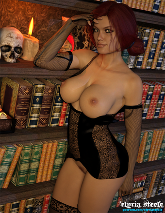 Triss spends some time in her study, wishing she had someone to fuck.