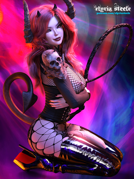 Known among the other demons for her sexual appetite and love of mischief, Mistress Lilith's sexual desires know no bounds.  As she lustfully wanders the nights in search of new prey,  her mind races with debaucherous new ways to pleasure herself.  Two alternate erect versions of this picture are available on my Patreon at the $3 tier.