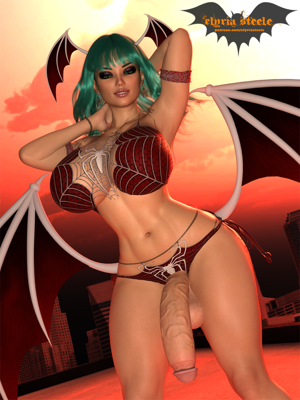 Morrigan dresses up in a sexy Spider-Man costume for Halloween!  A nude erect version is available on my Patreon at the $1 tier, and 4K versions (including horsecock and female) are available at the $3 tier.