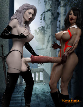 With Vampirella's urethra already wet and slick, Lady Death pushed her cock in deep, and fucked her tight horsecock slowly.  Happy Halloween! 😈