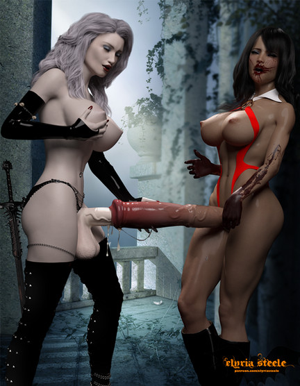 With Vampirella's urethra already wet and slick, Lady Death pushed her cock in deep, and fucked her tight horsecock slowly.