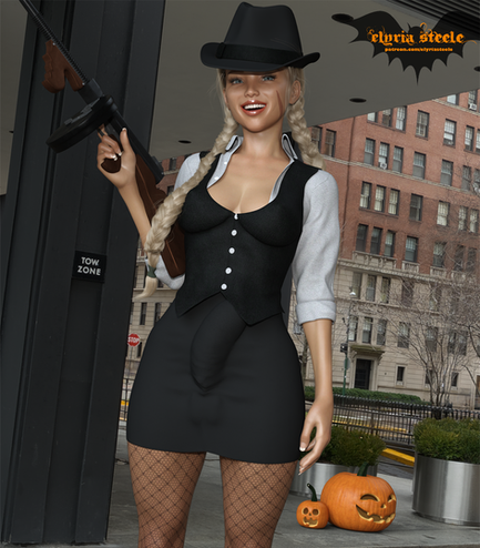 Cammy from Street Fighter steps out on the town as an old time movie gangster for Halloween!  A nude erect version is available on my Patreon at the $1 tier, and a 4K version and 4K erect nude version are available at the $3 tier.
