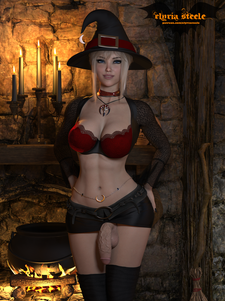 Samus Aran from Metroid dresses up as a sexy witch for Halloween!  Erect and cum versions are available on my Patreon at the $1 tier, and 4K versions of each (plus nude versions) are available at the $3 tier.