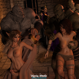 """""""Captain Kuruk, you and your orcs may do as you please with these trollops,"""" Dark Queen Velystra said as she headed for the doorway.  Captain Kuruk grunted in approval as he and one of his subordinates hastily removed Amara and Kelleigh's collars that had kept them chained to the wall.  Handling the women roughly, the hulking brutes ushered them towards the nearby pillories.  Dark Queen Velystra stopped and turned back to Captain Kuruk.  """"Oh, and Captain, don't kill the princess . . . I have special plans for her,"""" she said with a wicked grin.  As panic began to overtake the two women, Princess Amara whispered to her friend and bodyguard, """"I'll do my best to distract them for you.""""  Kelleigh nodded in understanding."""