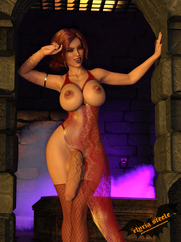 Triss Merigold from The Witcher dresses up as a sexy vampire for Halloween!  A nude version of this pic as well as an erect version and erect nude version are available on my Patreon at the $1 tier, and 4K versions of each are available at the $3 tier.