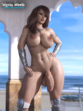 Santha the Valkyrie.  An unwatermarked version of this picture plus an erect version and a rear version are available on my Patreon at the $1 tier, and 4K versions of each are available at the $3 tier.