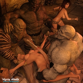 """Princess Amara cleared her mind and focused her empathic magic on each of the three orcs before her. She needed to distract their attention away from Kelleigh, and this was all she could think of. The attention of their simple minds was not difficult to sway considering their burning desire to fuck.  Captain Kuruk pulled her balls aside as he slid his engorged member up to her tight pussy. Amara's empathic ability worked both ways; she could feel his desire rushing through her, filling her with desire as well.   """"Urkah dras mekoth!"""" she uttered in a low growl up at him, orcish for 'take your prize'. He grinned with his crooked, yellow teeth as he thrust deep into her dripping pussy. His subordinates pulled her backwards, and one of them pressed his girth into her mouth. They became a circle of lust and fulfillment as Amara was now a conduit for the strong sexual hunger coursing through them.  Kelleigh was surprised that the orcs had seemed to forget that she was even there. She realized Amara must be using her empathic magic on them; she knew it was all Amara could do and needed to make the time she was given count. She scrambled to find something she could use as a weapon and found a large femur laying amongst the skulls and bones littered around the cell - it would have to do.  The orcs began to thrust faster, and Amara could feel her own cum building up at the base of her cock. As each orc filled her with their pale-green seed, she couldn't keep from spraying her own ejaculate across her stomach and chest."""