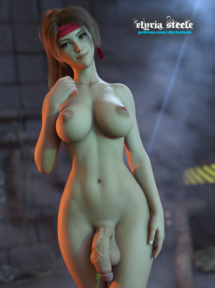 Jessie Rasberry from Final Fantasy VII!  An unwatermarked version of this picture is available on my Patreon at the $1 tier, and a 4K version (plus erect, erect horsecock and female variants) is available at the $3 tier.