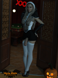 Trish from Devil May Cry dresses up as a sexy nun for Halloween!  Erect, nude and female versions are available on my Patreon at the $1 tier, and 4K versions of each are available at the $3 tier.