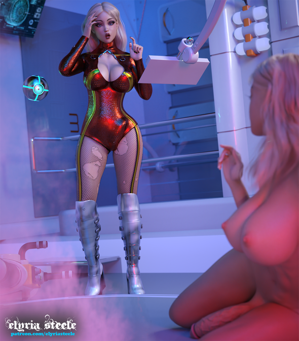 """I'm Breanna Sparks, captain of the smuggling ship the Jackhammer, and I think I just made a big goof!  """"Uh, O-Bot, situation report!"""" I hear the naked lady on the floor say in a familiar silken voice.   Hovering in the air, my trusty operations droid looks between the two of us before answering towards me, """"It appears you didn't listen to my warnings, and instead of cloning the power cell you have cloned yourself.""""   """"Well, I'm sorry!"""" I exclaim.  """"I didn't know the cloning beam was going to be so erratic!""""    My apparent clone, her hair all a mess, slowly gets up off the floor and approaches me.  A mischievous looking grin creeps across her lips."""