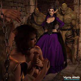 """""""Well, well, well, how lascivious!"""" came the wicked hiss of Dark Queen Velystra from the cell doorway.  Flanked by three of her hulking orc minions, she continued, """"I should have known that if left alone long enough you'd whore it up with each other.  I hope you don't mind some extra company."""""""