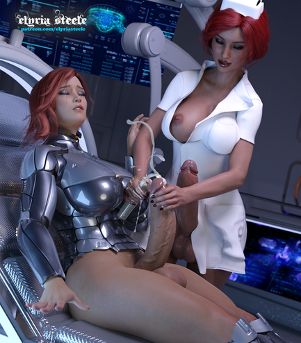 After returning from a very difficult mission, Commander Shepard undergoes a mandatory medical checkup.  Nurse Triss performs a thorough exam of her patient, collecting the necessary samples to ensure Shepard is still in good shape.  An unwatermarked version of this picture is available on my Patreon at the $1 tier, and a 4K version is available at the $3 tier.