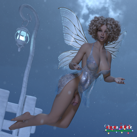 """Lumi the snow fairy says, """"Let it snow!""""  An unwatermarked version of this picture is available on my Patreon at the $1 tier, and five 4K versions (this picture plus nude flaccid, erect, horsecock and female) are available at the $3 tier."""