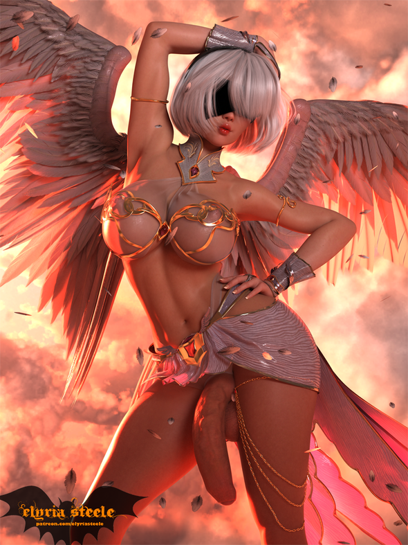 2B from Nier: Automata dressed up as a sexy angel.  A 4K version and 4K erect nude version are available on my Patreon at the $3 tier.