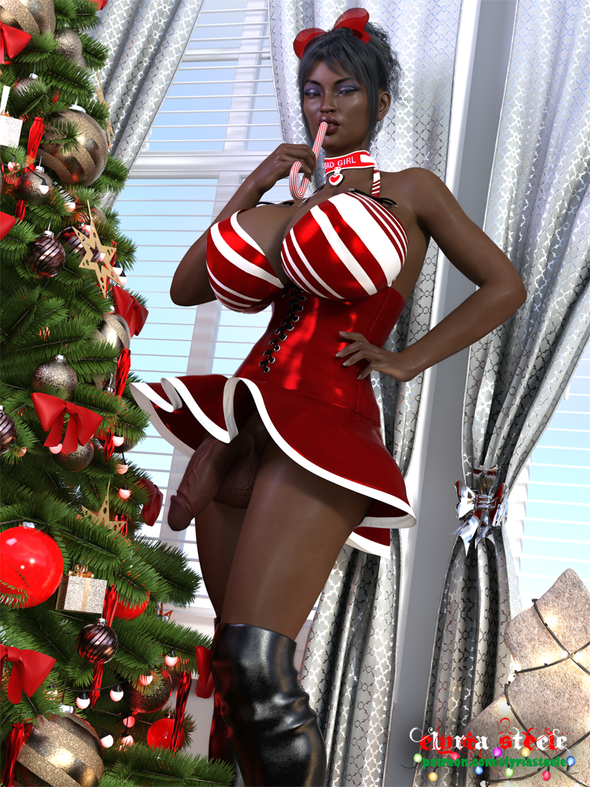 This is Aniyah, a new OC the commissioner and I created for the holiday season.  An unwatermarked version of this picture is available on my Patreon at the $1 tier, and a 4K version is available at the $3 tier.