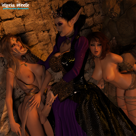 """Amara couldn't help but focus her empathic abilities on Velystra.  She expected her cock to conform to Velystra's wishes, but it maintained its full girth.  Velystra glanced down to Amara's cock as she said, """"It's a decent size . . . maybe someday I'll show you what an impressive sized cock looks like, but for now, you and your whore will be breeding stock for my orcs."""""""