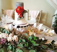 Sequin and peony wedding cake