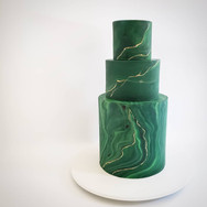 Emerald and gold marble wedding cake
