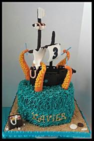 Kraken Pirate Ship Cake