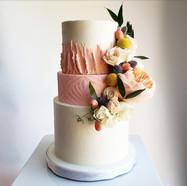 blush and white wedding cake
