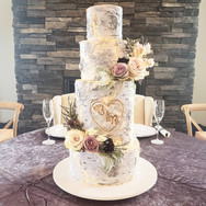 Aspen Birch carved initial wedding cake