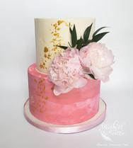 Blush and gold peony cake