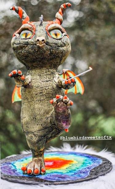 Gravity defying dragon cake