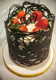 Chocolate wrap cake with strawberries