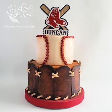 baseball and glove tiered fondant cake.j