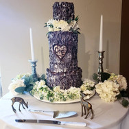 Rustic log wedding cake with carved init